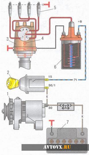 Схема зажигания ВАЗ 2106