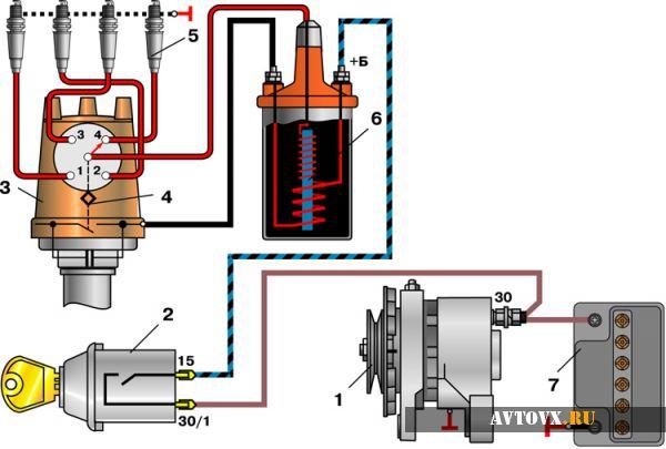 Схема катушки зажигания ВАЗ 2106