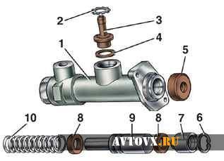 Цилиндры сцепления элементы механизма ВАЗ 2106