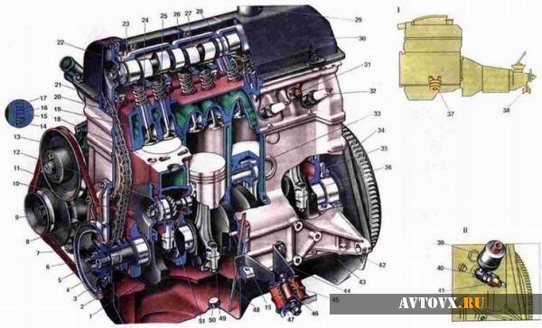 Схема двигателя ВАЗ шестой серии