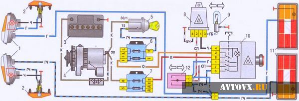 Реле поворотов схема ВАЗ 2106