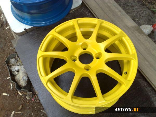 Покраска дисков в желтый цвет