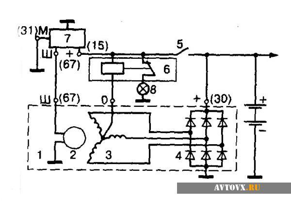 Реле зарядки схема ВАЗ 2106