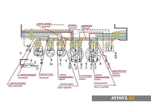 Панель приборов электрическая схема ВАЗ 2106
